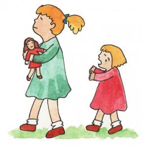 Girl taking doll