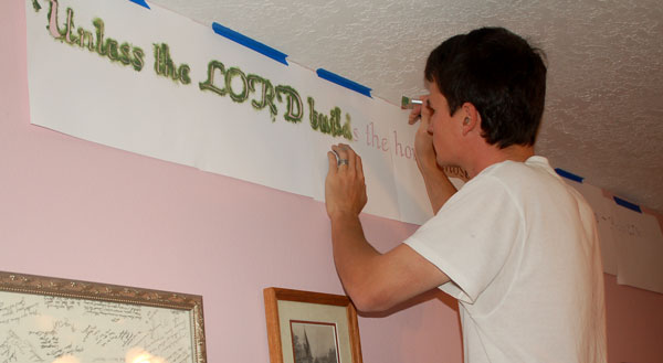 Stenciling Scripture on the wall