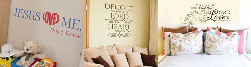 Scripture wall lettering from Wise Decor