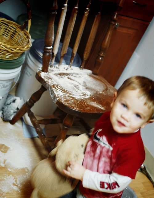 Boy making mess