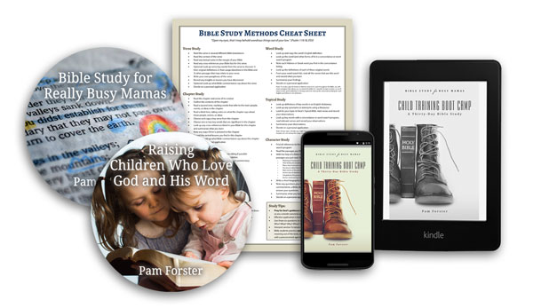 "Child Training Boot Camp, the fifth Bible study in the ""Busy Mamas"" series, is finished! Order by March 31, 2016 and get four free bonuses from Pam Forster."