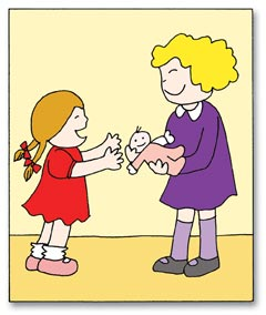 Girl sharing toys