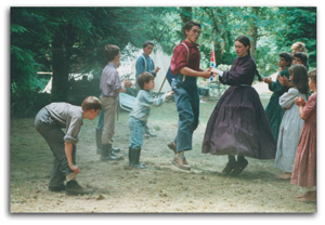 Joseph and Hannah dancing at a civil war reenactment, about 2002